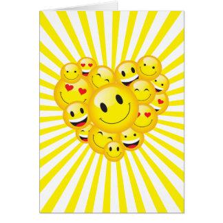 Cartão Impressões felizes positivas amarelas Uplifting da