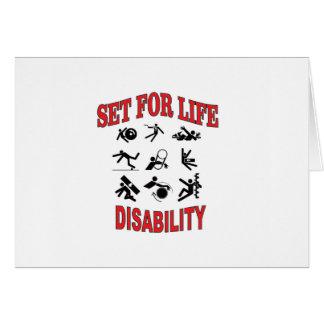 Cartão inabilidade ajustada para a vida