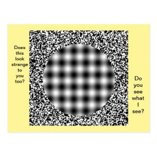 Cartão incomum, estranho da ilusão óptica