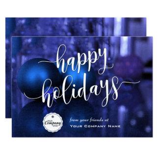 Cartão Incorporado azul & roxo boas festas