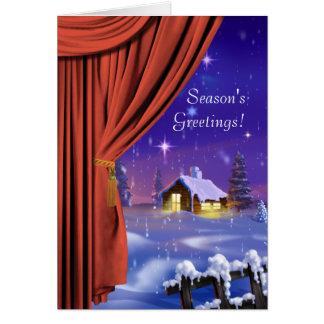 Cartão incorporado da fantasia da cortina