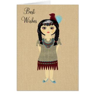 Cartão indiano bonito do vazio da menina