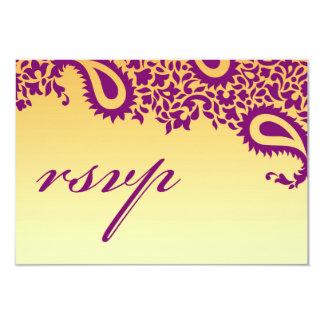 Cartão indiano do estilo do casamento de RSVP