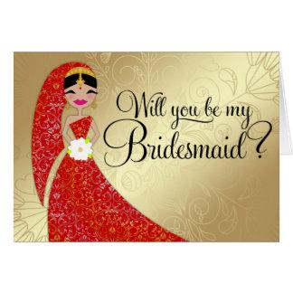 Cartão Indiano ornamentado do Brunette de Updo do vestido