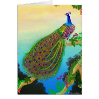 Cartão indiano selvagem exótico do pavão