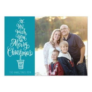 Cartão indicado por letras da foto do Natal da Convite 12.7 X 17.78cm