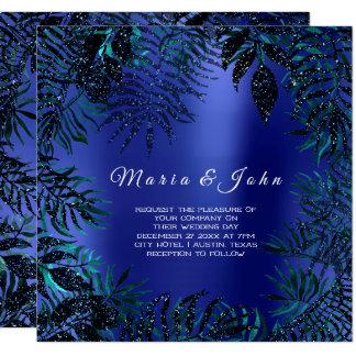 Cartão Índigo azul da cerceta do jardim tropical do