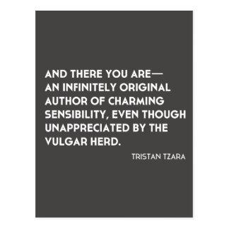 """Cartão """"infinita original"""" de Tristan Tzara"""