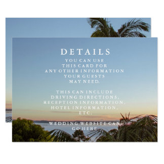 Cartão Informação azul do casamento de praia das ondas e