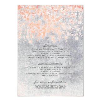Cartão Informação coral e cinzenta do casamento dos