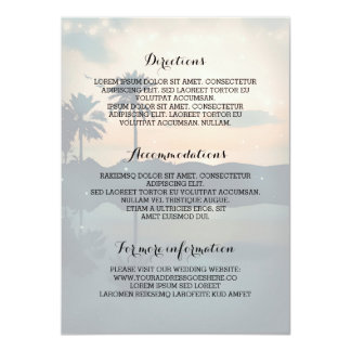 Cartão Informação de detalhes do casamento de praia do