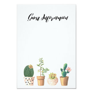 Cartão Informação do convidado da tipografia do Succulent