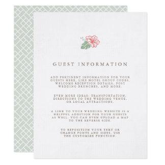 Cartão Informação do convidado do casamento do hibiscus