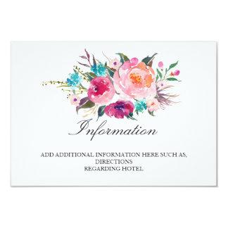 Cartão Informação floral chique do casamento/detalhes