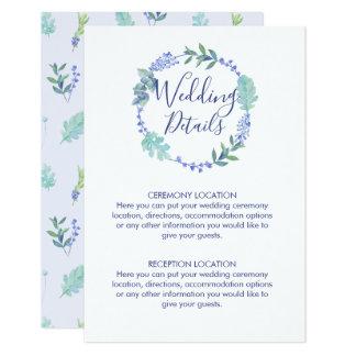 Cartão Informação floral do casamento da grinalda do
