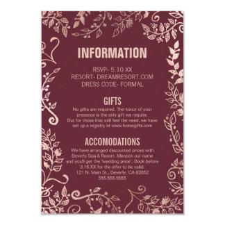 Cartão Informação floral do ouro da rosa vermelha de