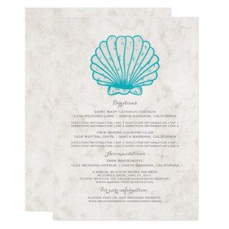 Cartão Informação rústica do casamento do Seashell de