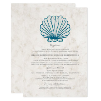 Cartão Informação rústica do casamento do Seashell dos