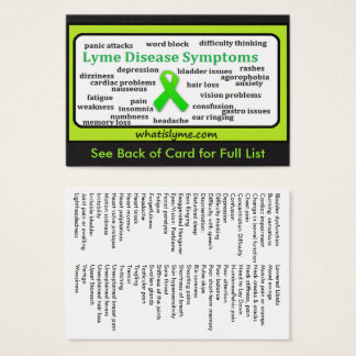 Cartão informativo da lista dos sintomas da doença