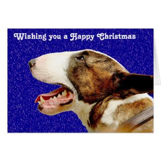 Cartão Inglês bull terrier do Natal