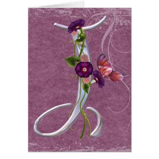 Cartão Inicial preciosa J da borboleta
