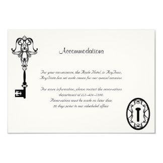 Cartão Inserção chave preto e branco do casamento