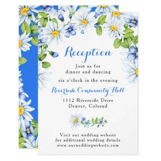 Cartão Inserção floral azul da recepção de casamento da