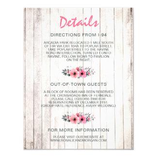 Cartão Inserção floral de madeira rústica dos detalhes do