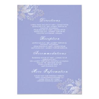 Cartão Inserção floral roxa dos detalhes do casamento da