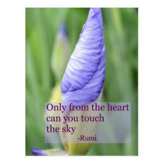 Cartão inspirado das citações de Rumi da íris