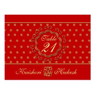 Cartão inspirado indiano do número da mesa do