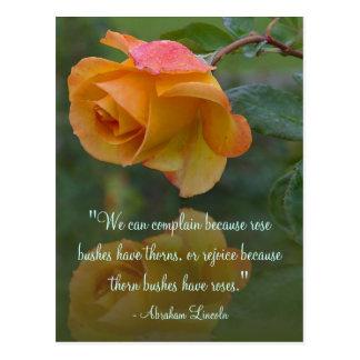 Cartão inspirador das citações de Lincoln dos