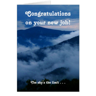 Cartão inspirador do trabalho novo dos parabéns