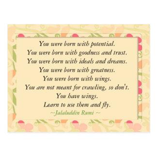 Cartão inspirador inspirado das citações de Rumi