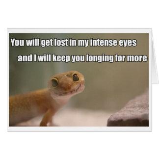Cartão intenso do geco dos olhos
