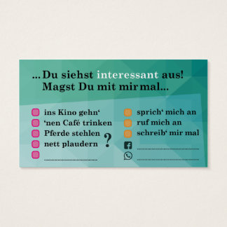 """cartão """"Interessante…""""; com Kontaktfeldern"""