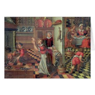 Cartão Interior da cozinha, a ceia em Emmaus