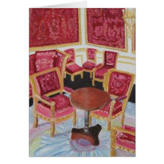 Cartão Interior vermelho: Castelo de Fontainebleau