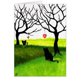 Cartão interurbano dos gatos da amizade do amor