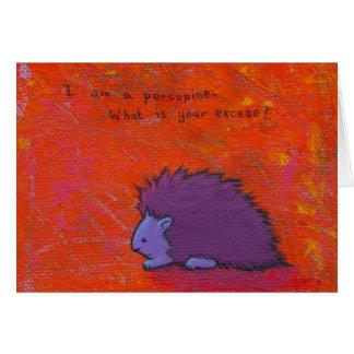 Cartão Intitulado:  Espinhoso - arte colorida do porco-