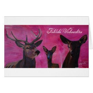 Cartão Inverno Deer Family de natais Joviais