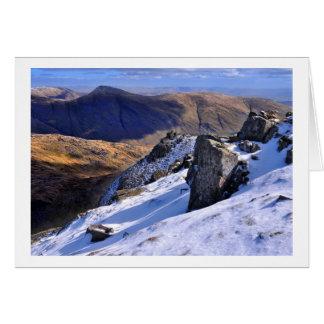Cartão Inverno do distrito do lago - vista de Screes