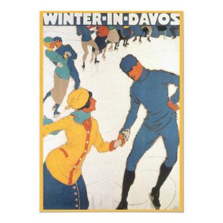 Cartão Inverno do viagem do art deco do vintage no