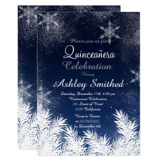 Cartão Inverno elegante Quinceañera do floco de neve dos