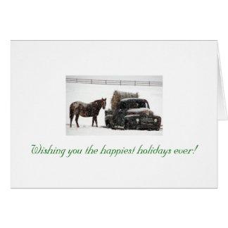 Cartão inverno-feno-entrega, desejando lhe o h o mais