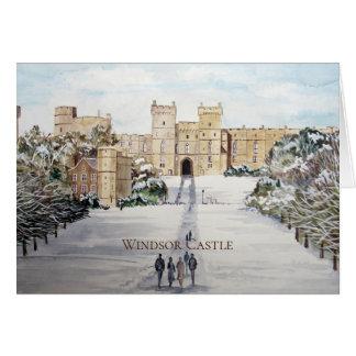 Cartão Inverno na pintura de paisagem do castelo de