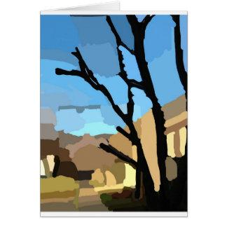 Cartão Inverno na rua da árvore de cereja
