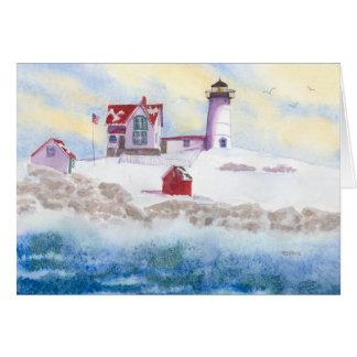 Cartão inverno no farol do Nubble em Maine