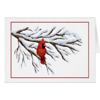 Cartão Inverno Notecard cardinal vermelho