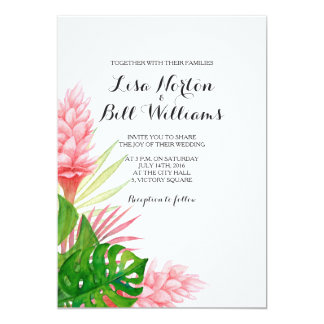 Cartão Invtiation tropical do casamento da aguarela das